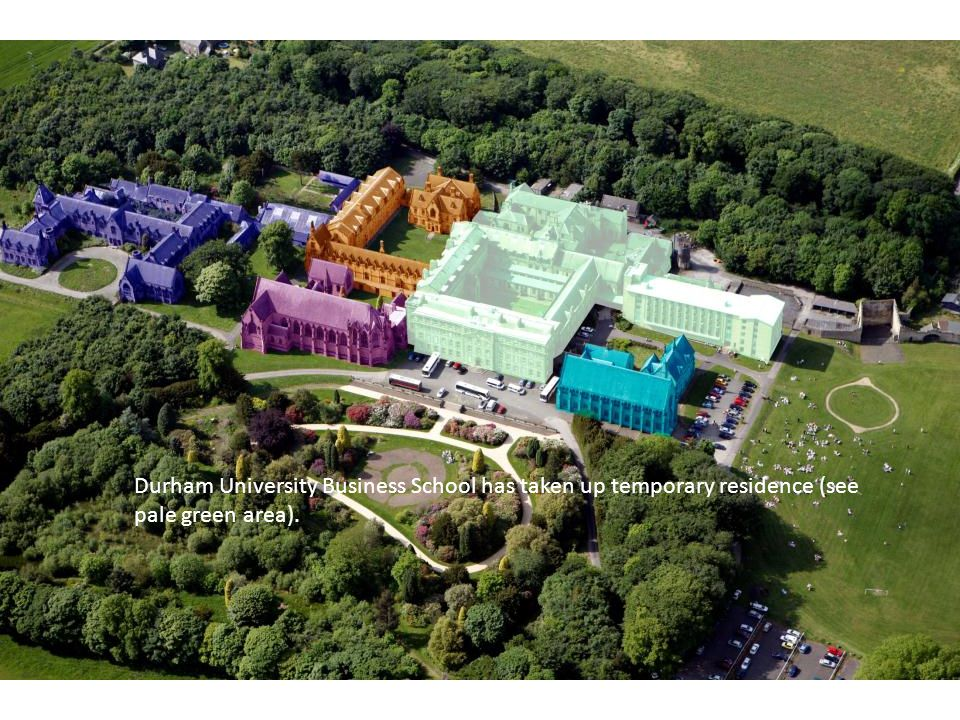Durham University Business School has taken up temporary residence (see pale green area).