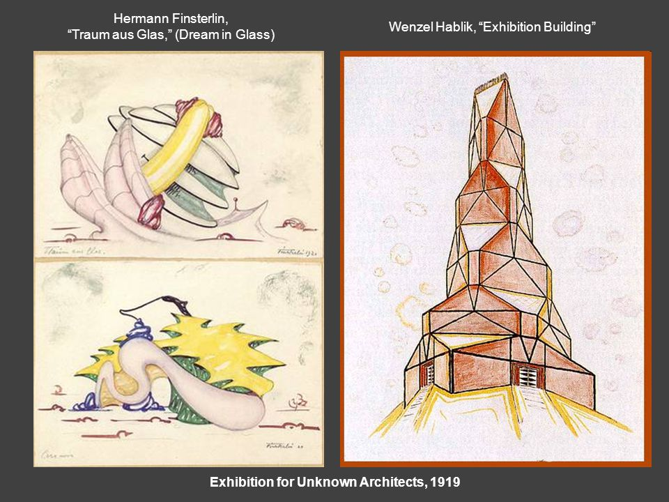 Exhibition for Unknown Architects, 1919 Hermann Finsterlin, Traum aus Glas, (Dream in Glass) Wenzel Hablik, Exhibition Building