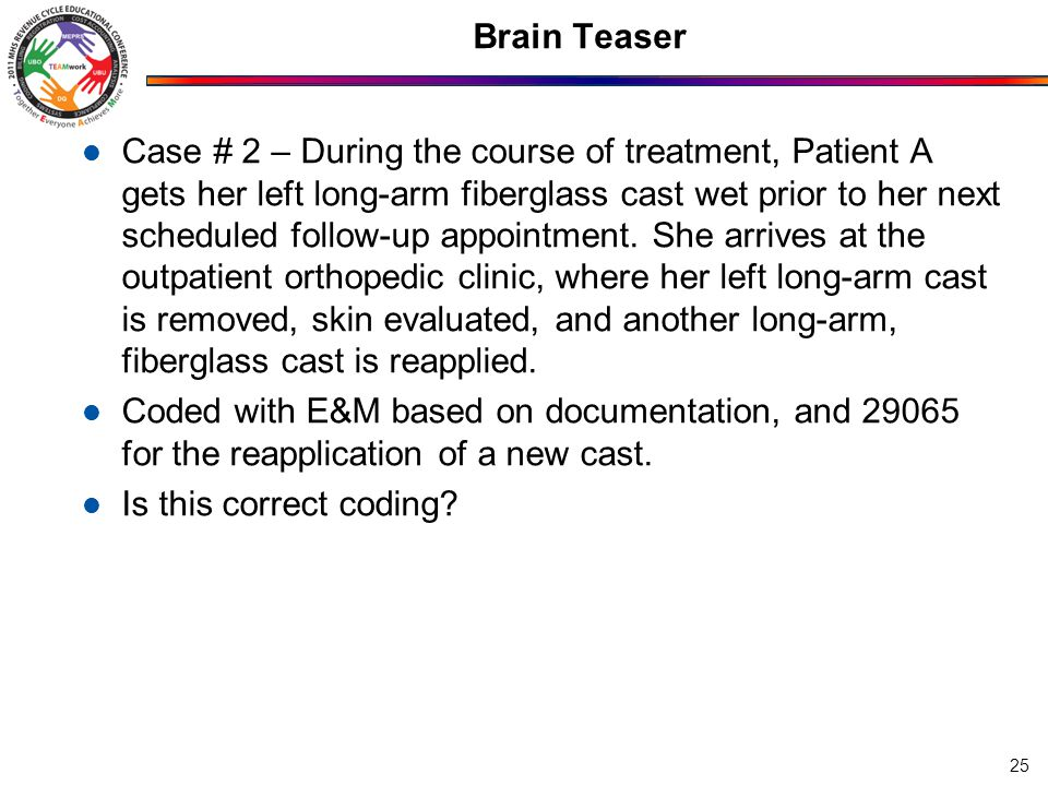 Brain Teaser Case # 2 – During the course of treatment, Patient A gets her left long-arm fiberglass cast wet prior to her next scheduled follow-up app