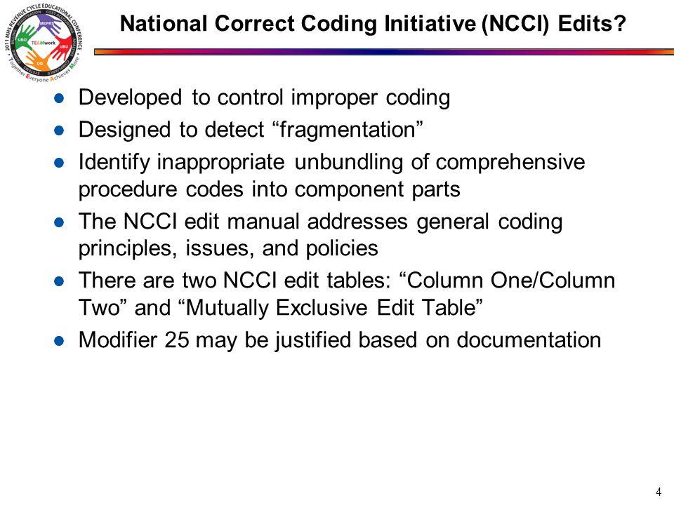"National Correct Coding Initiative (NCCI) Edits? Developed to control improper coding Designed to detect ""fragmentation"" Identify inappropriate unbund"
