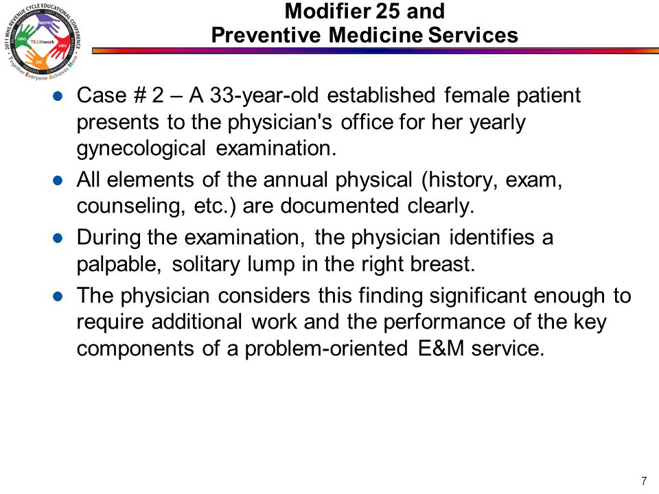 Modifier 25 and Preventive Medicine Services Case # 2 – A 33-year-old established female patient presents to the physician's office for her yearly gyn