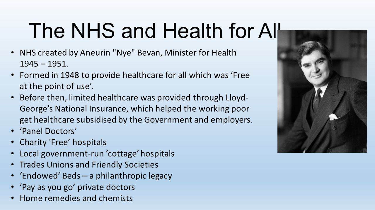 The NHS and Health for All NHS created by Aneurin Nye Bevan, Minister for Health 1945 – 1951.