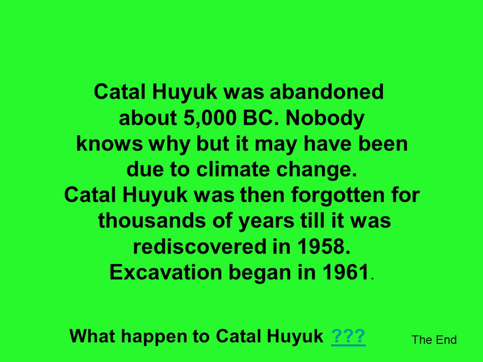 We do not know what the people of Catal Huyuk believed but religion was obviously important to them. They made figurines of clay and stone, which may