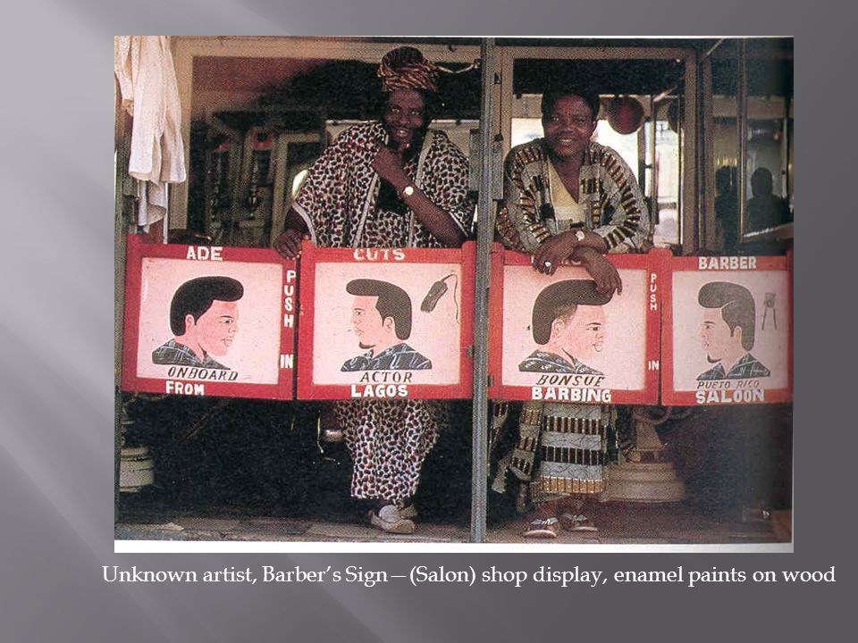 Unknown artist, Barber's Sign—(Salon) shop display, enamel paints on wood