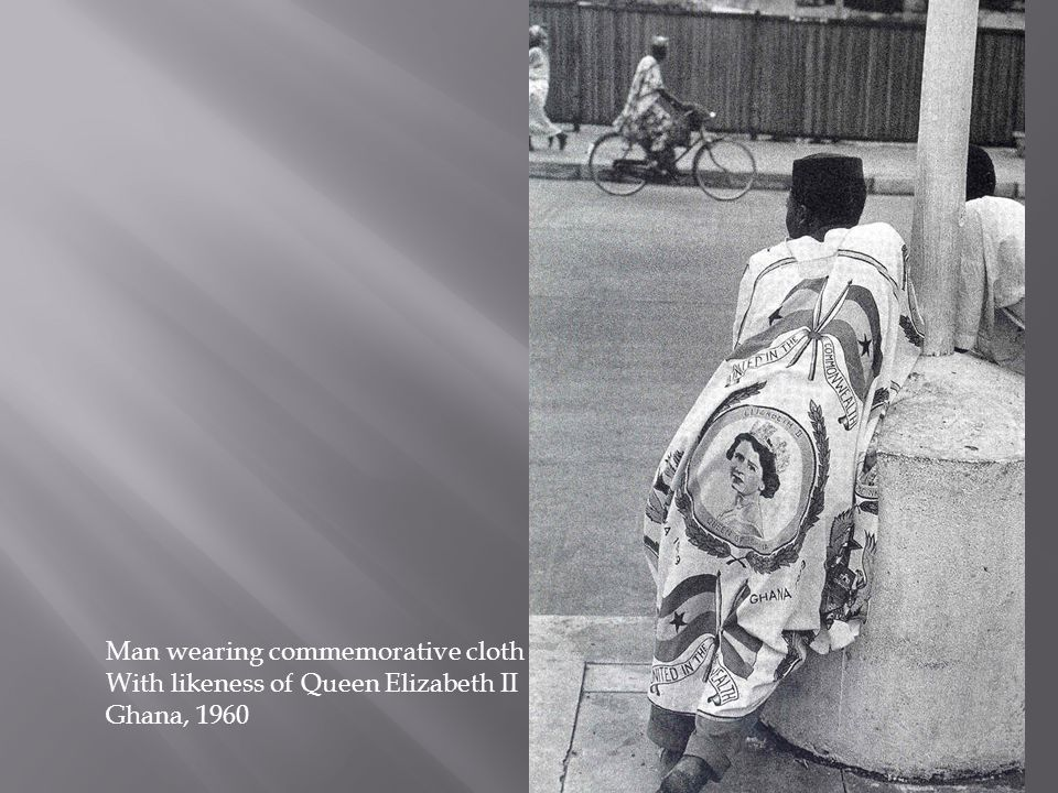 Man wearing commemorative cloth With likeness of Queen Elizabeth II Ghana, 1960