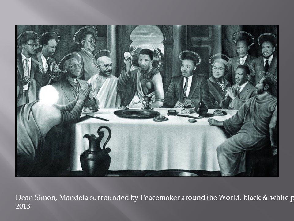 Dean Simon, Mandela surrounded by Peacemaker around the World, black & white painting 2013