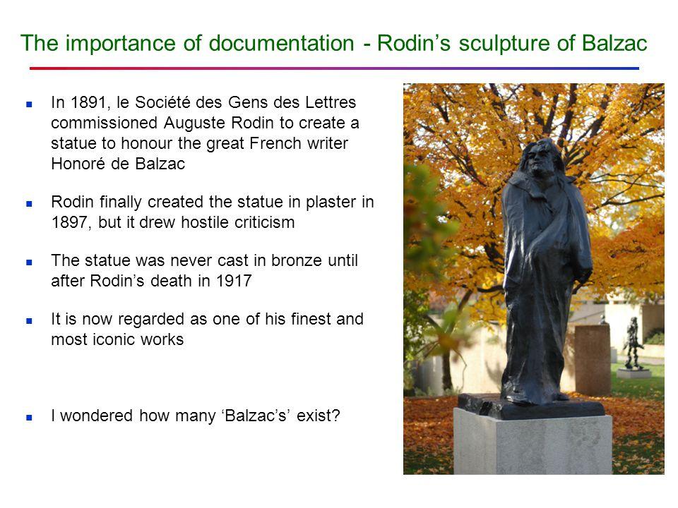 The importance of documentation - Rodin's sculpture of Balzac In 1891, le Société des Gens des Lettres commissioned Auguste Rodin to create a statue t