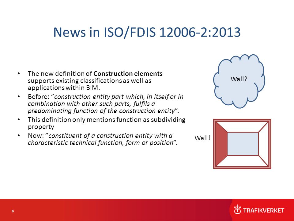 6 News in ISO/FDIS 12006-2:2013 The new definition of Construction elements supports existing classifications as well as applications within BIM.