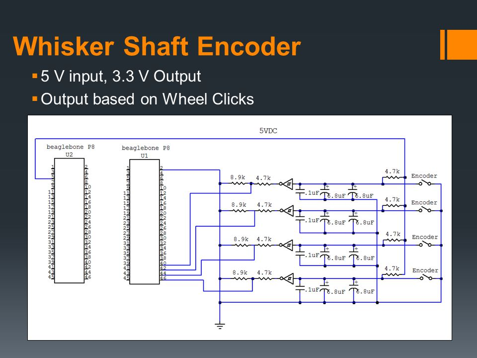 Whisker Shaft Encoder  5 V input, 3.3 V Output  Output based on Wheel Clicks