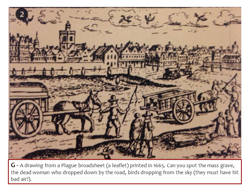 G - A drawing from a Plague broadsheet (a leaflet) printed in 1665. Can you spot the mass grave, the dead woman who dropped down by the road, birds dr