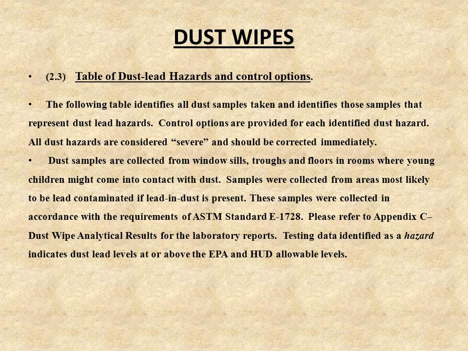 DUST WIPES (2.3) Table of Dust-lead Hazards and control options.