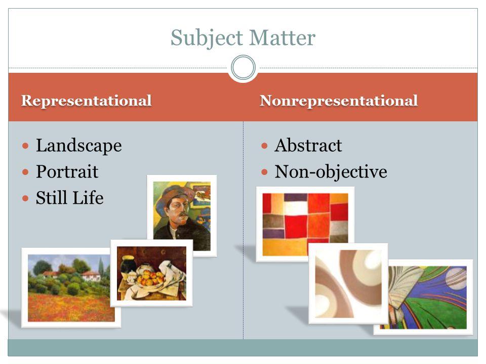 Representational Nonrepresentational Landscape Portrait Still Life Abstract Non-objective Subject Matter