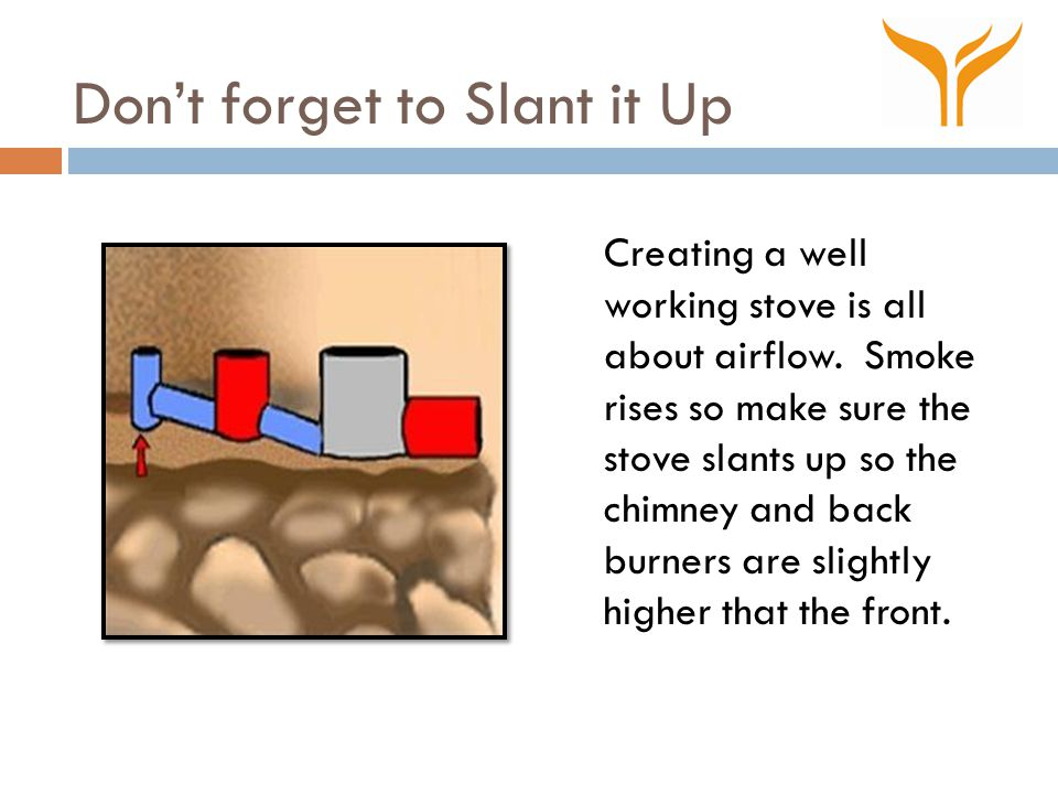 Don't forget to Slant it Up Creating a well working stove is all about airflow.