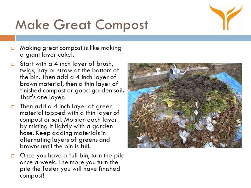 Make Great Compost  Making great compost is like making a giant layer cake!.