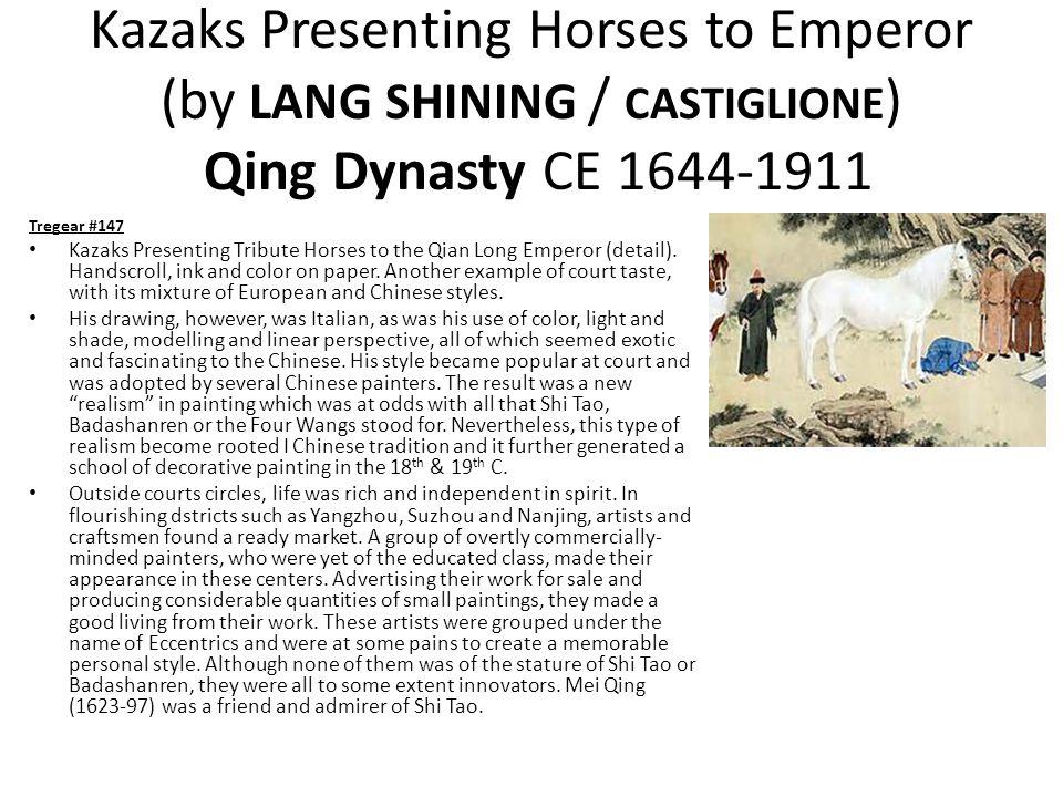 Kazaks Presenting Horses to Emperor (by LANG SHINING / CASTIGLIONE ) Qing Dynasty CE 1644-1911 Tregear #147 Kazaks Presenting Tribute Horses to the Qian Long Emperor (detail).