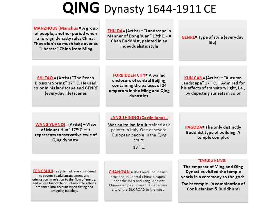 QING Dynasty 1644-1911 CE MANZHOUS (Manchus ) = A group of people, another period when a foreign dynasty rules China.