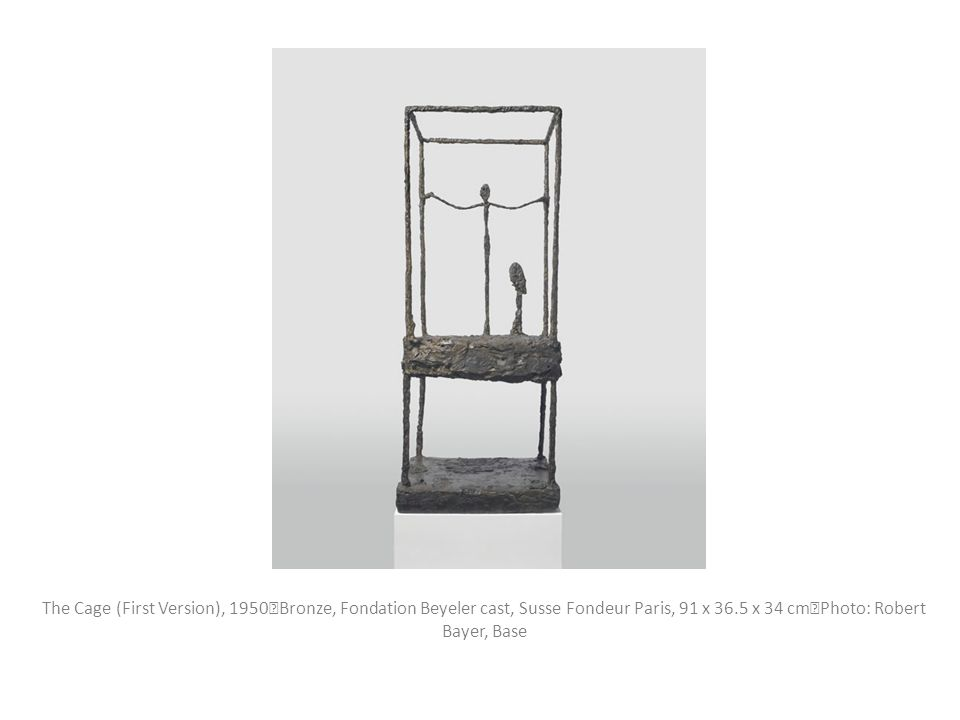 The Cage (First Version), 1950 Bronze, Fondation Beyeler cast, Susse Fondeur Paris, 91 x 36.5 x 34 cm Photo: Robert Bayer, Base