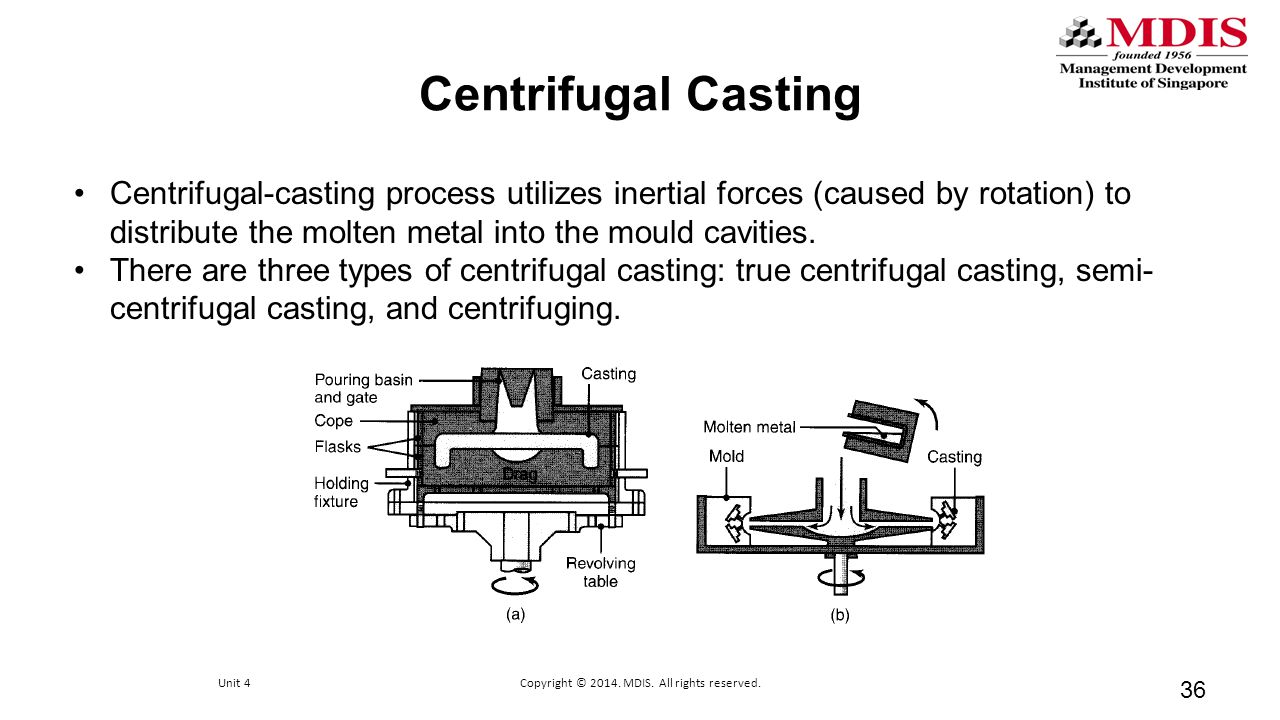 Centrifugal Casting 36 Centrifugal-casting process utilizes inertial forces (caused by rotation) to distribute the molten metal into the mould cavitie
