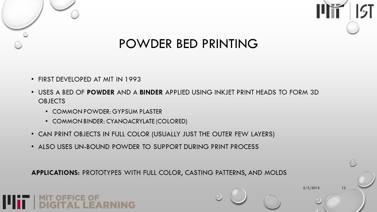 POWDER BED PRINTING FIRST DEVELOPED AT MIT IN 1993 USES A BED OF POWDER AND A BINDER APPLIED USING INKJET PRINT HEADS TO FORM 3D OBJECTS COMMON POWDER