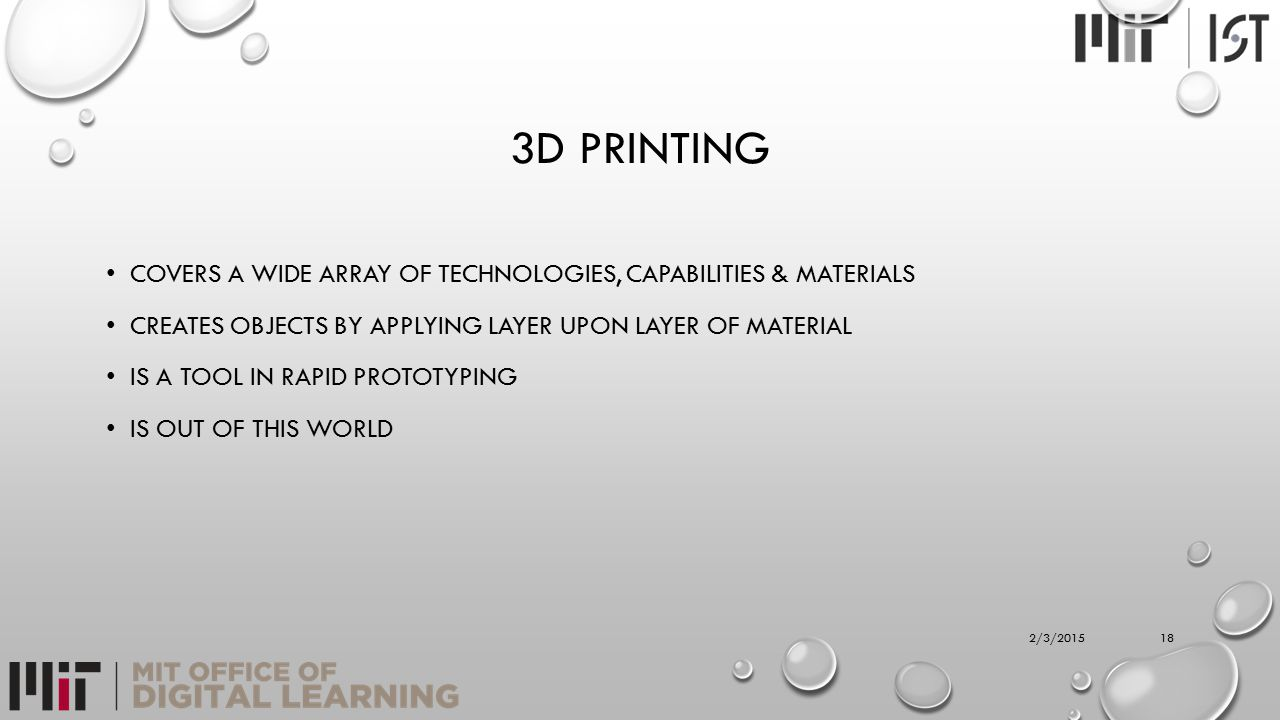 3D PRINTING COVERS A WIDE ARRAY OF TECHNOLOGIES, CAPABILITIES & MATERIALS CREATES OBJECTS BY APPLYING LAYER UPON LAYER OF MATERIAL IS A TOOL IN RAPID