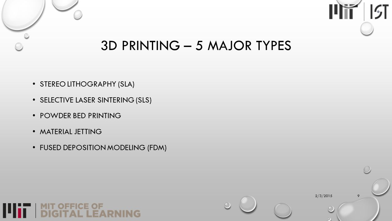 3D PRINTING – 5 MAJOR TYPES STEREO LITHOGRAPHY (SLA) SELECTIVE LASER SINTERING (SLS) POWDER BED PRINTING MATERIAL JETTING FUSED DEPOSITION MODELING (F