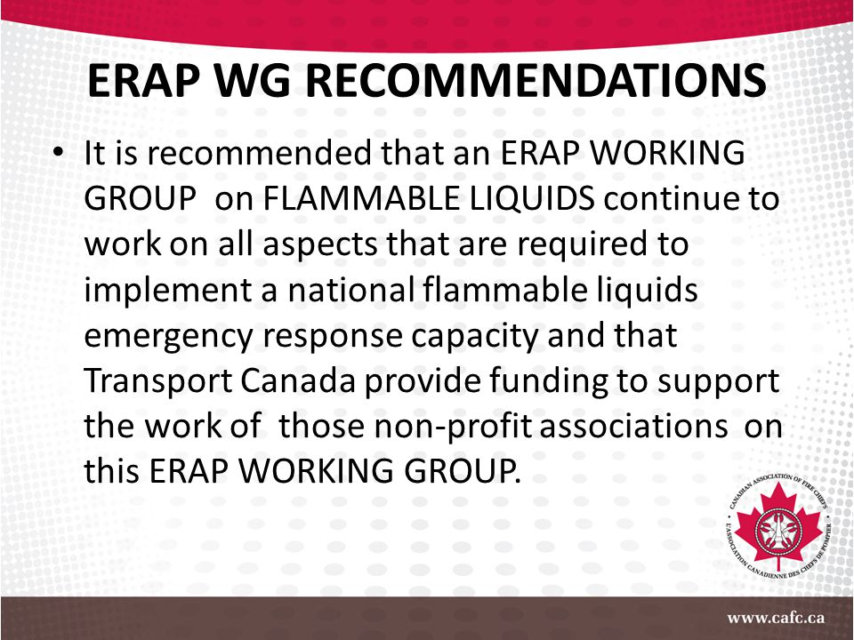 ERAP WG RECOMMENDATIONS It is recommended that an ERAP WORKING GROUP on FLAMMABLE LIQUIDS continue to work on all aspects that are required to impleme