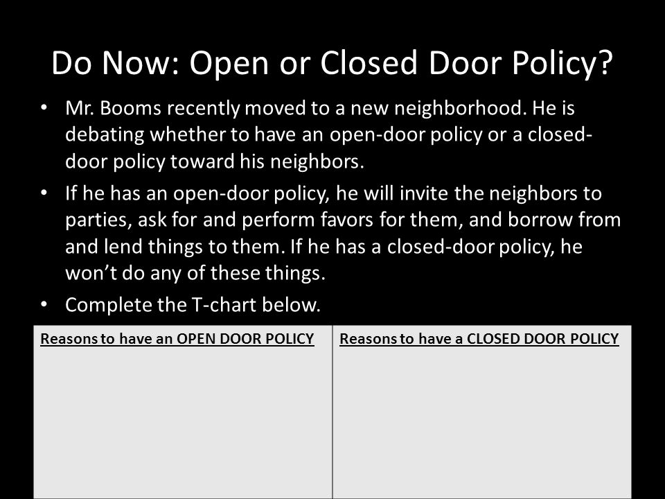 Do Now: Open or Closed Door Policy.Mr. Booms recently moved to a new neighborhood.