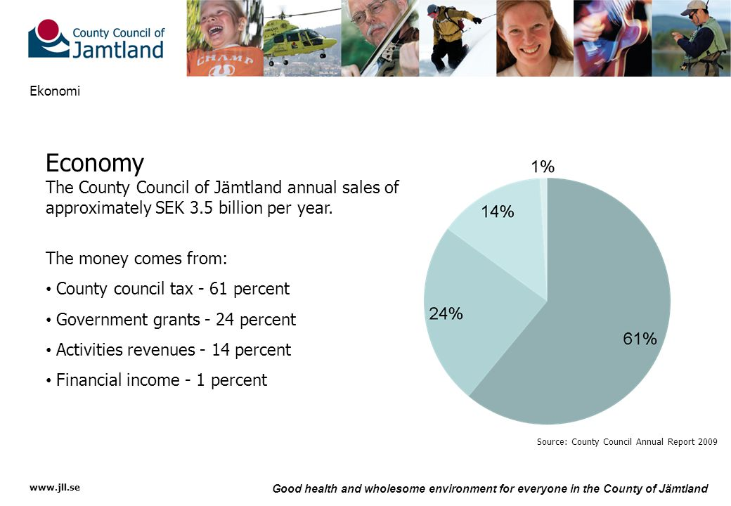 www.jll.se Good health and wholesome environment for everyone in the County of Jämtland Ekonomi Economy The County Council of Jämtland annual sales of approximately SEK 3.5 billion per year.