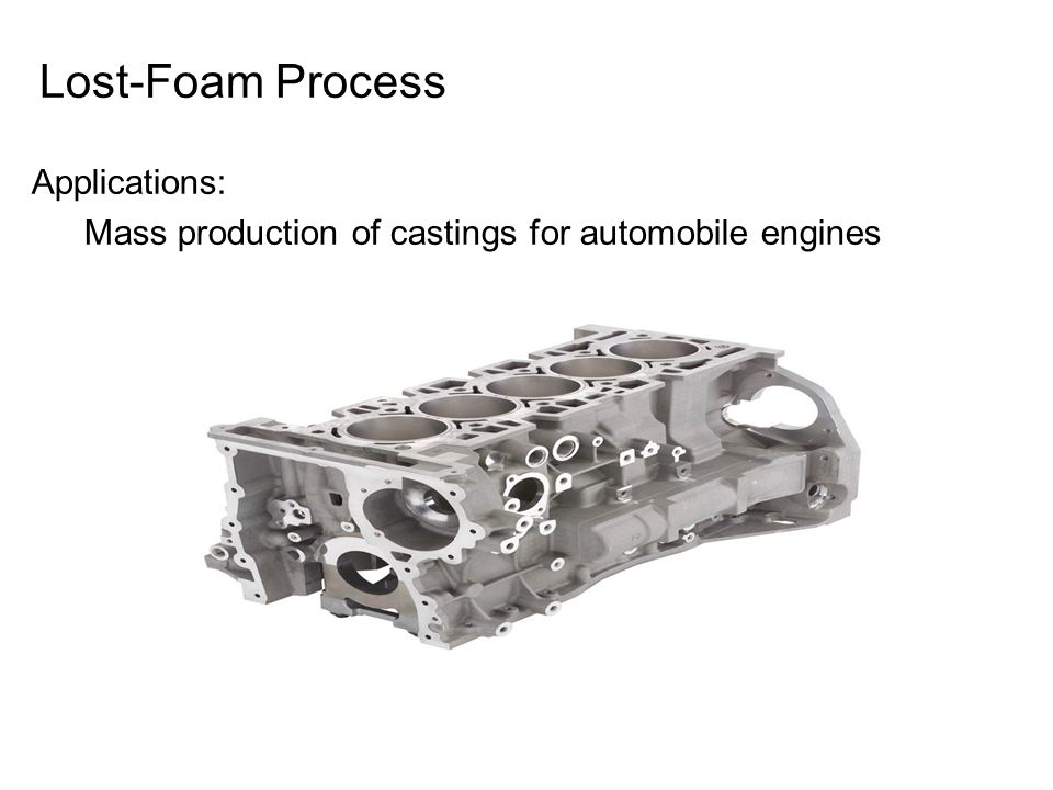 Lost-Foam Process Applications: Mass production of castings for automobile engines