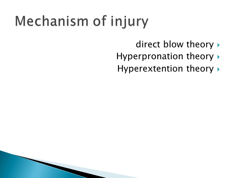  direct blow theory  Hyperpronation theory  Hyperextention theory