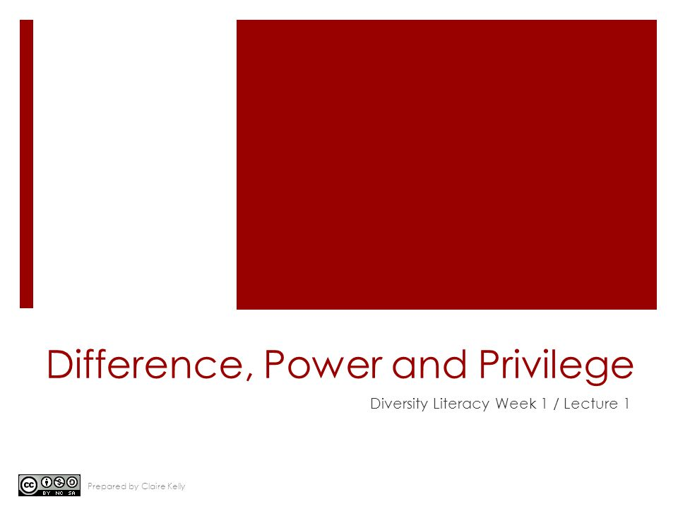 Difference, Power and Privilege Diversity Literacy Week 1 / Lecture 1 Prepared by Claire Kelly