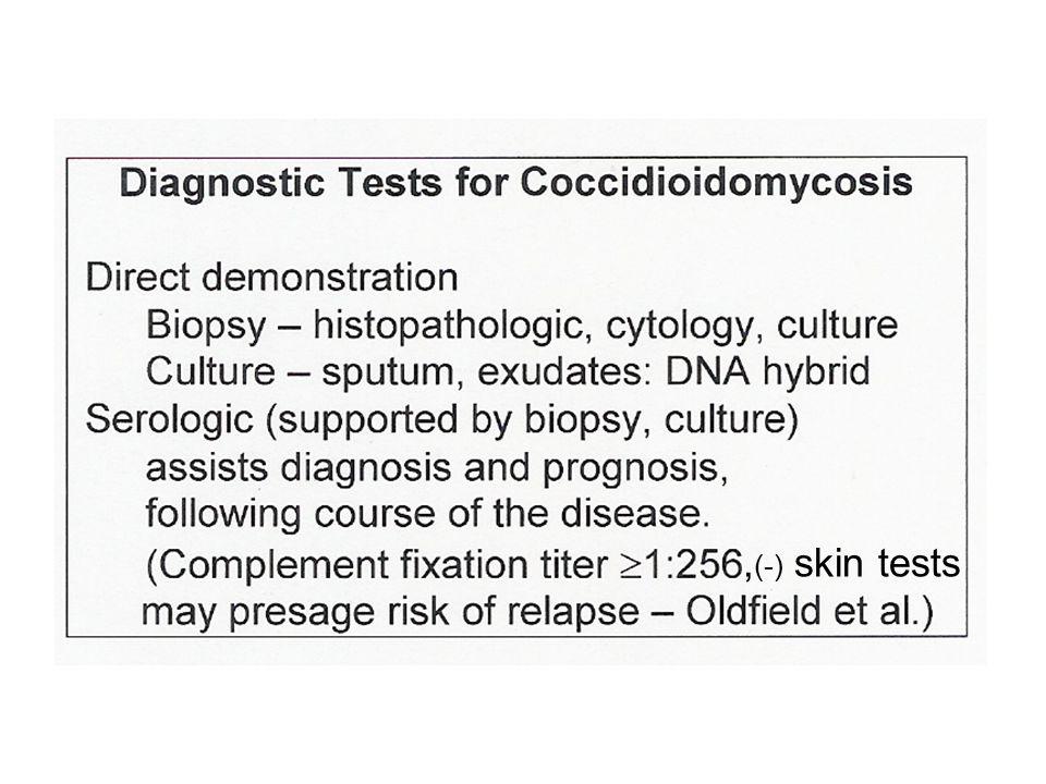 , (-) skin tests