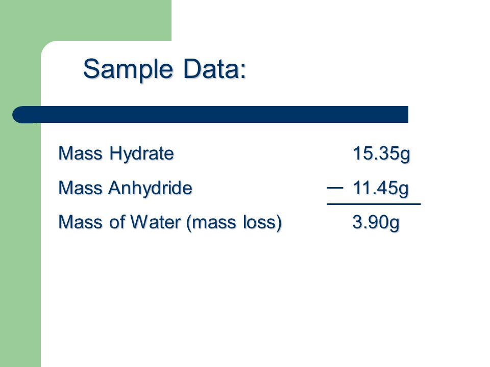 Mass Hydrate15.35g Mass Anhydride 11.45g Mass of Water (mass loss)3.90g Sample Data: