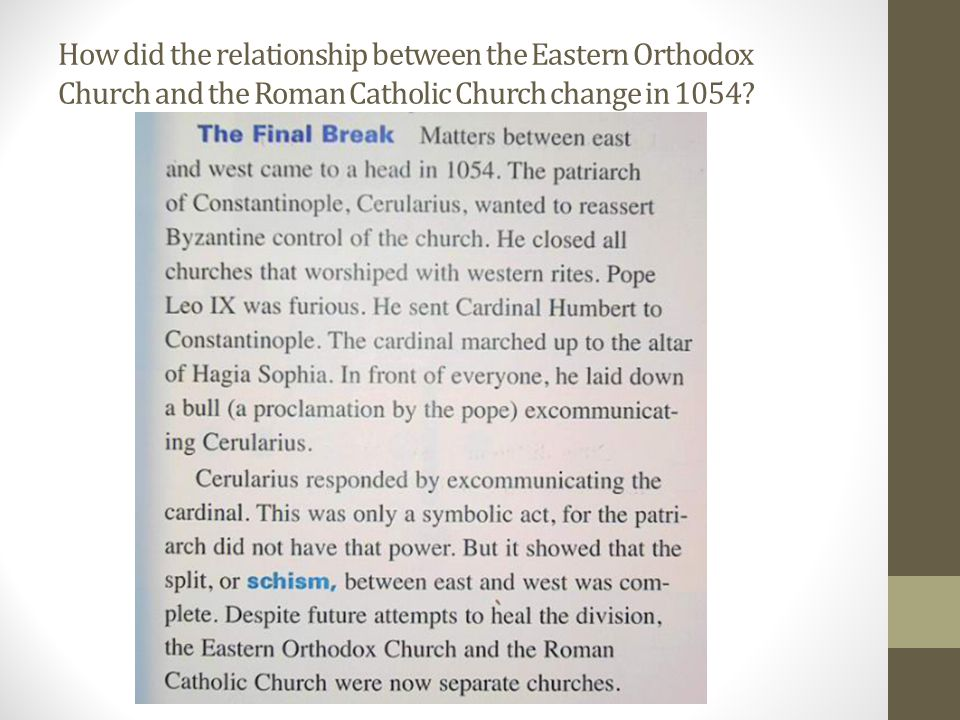 How did the relationship between the Eastern Orthodox Church and the Roman Catholic Church change in 1054?