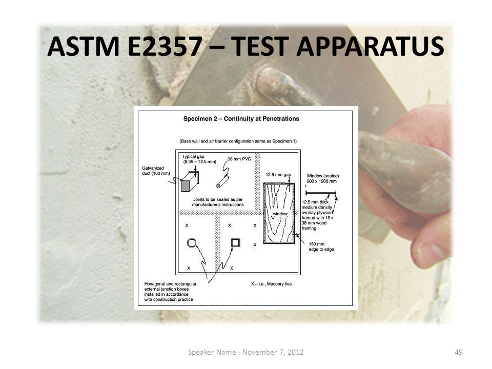 ASTM E2357 – TEST APPARATUS Speaker Name - November 7, 201249