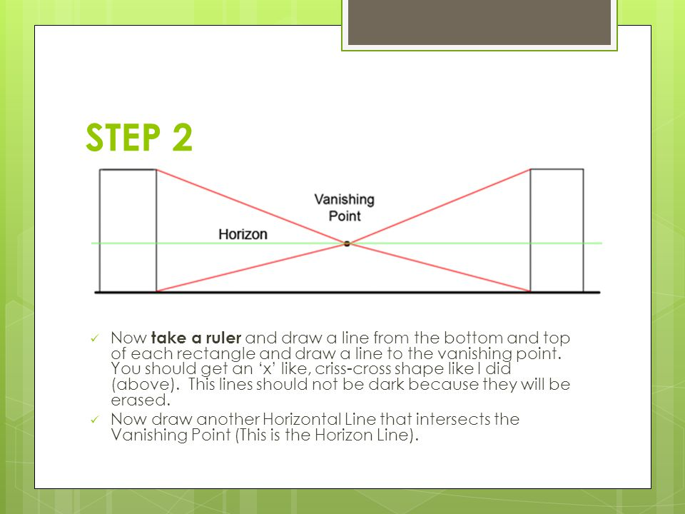 STEP 2 Now take a ruler and draw a line from the bottom and top of each rectangle and draw a line to the vanishing point.