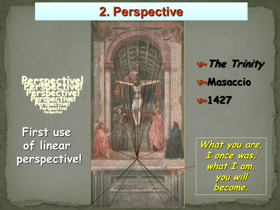 The first known painting to apply Brunelleschi's system of linear perspective.