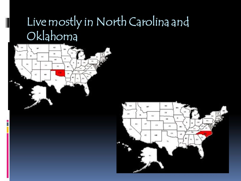 Live mostly in North Carolina and Oklahoma