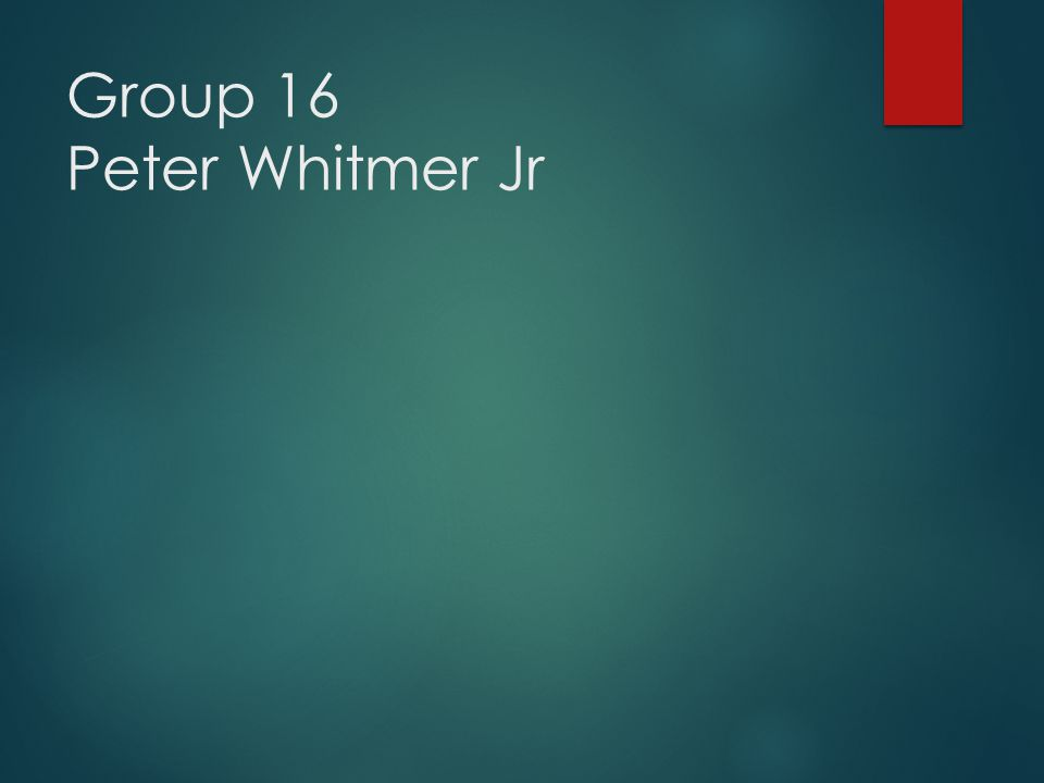 Group 16 Peter Whitmer Jr