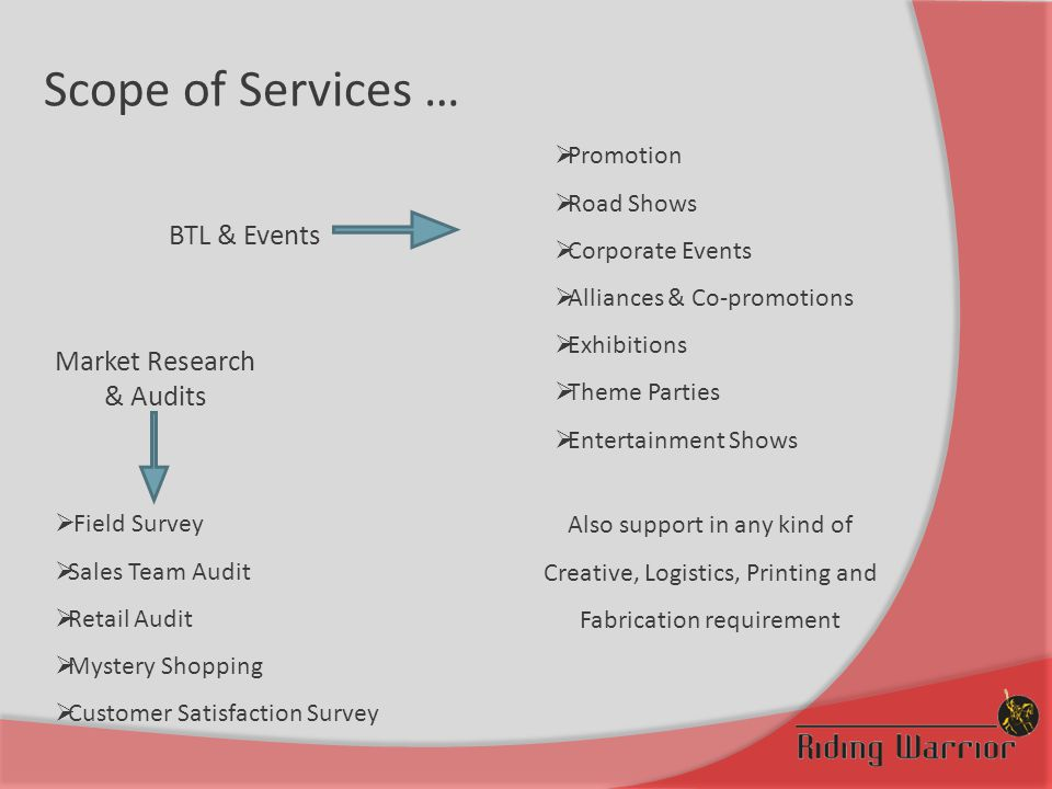 Scope of Services … Also support in any kind of Creative, Logistics, Printing and Fabrication requirement BTL & Events Market Research & Audits  Field Survey  Sales Team Audit  Retail Audit  Mystery Shopping  Customer Satisfaction Survey  Promotion  Road Shows  Corporate Events  Alliances & Co-promotions  Exhibitions  Theme Parties  Entertainment Shows