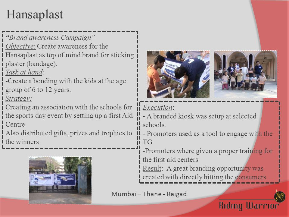 """Hansaplast """"Brand awareness Campaign"""" Objective: Create awareness for the Hansaplast as top of mind brand for sticking plaster (bandage). Task at hand"""