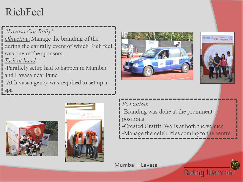 """RichFeel """"Lavasa Car Rally"""" Objective: Manage the branding of the during the car rally event of which Rich feel was one of the sponsors. Task at hand:"""