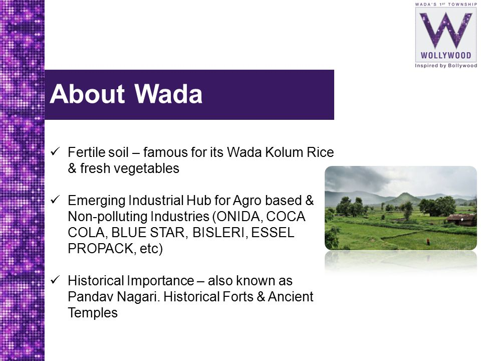 About Wada Fertile soil – famous for its Wada Kolum Rice & fresh vegetables Emerging Industrial Hub for Agro based & Non-polluting Industries (ONIDA,