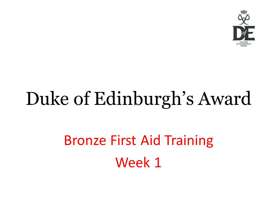 Duke of Edinburgh's Award Bronze First Aid Training Week 1