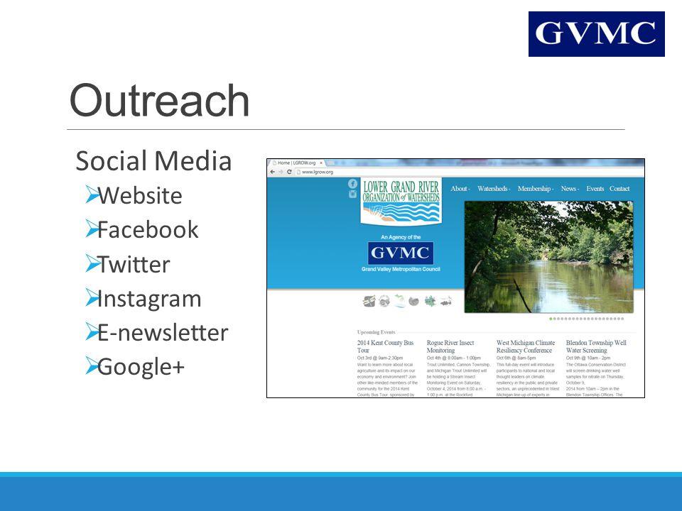 Outreach Social Media  Website  Facebook  Twitter  Instagram  E-newsletter  Google+