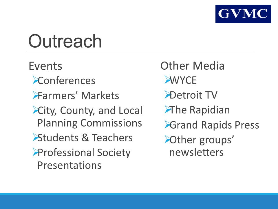 Outreach Events  Conferences  Farmers' Markets  City, County, and Local Planning Commissions  Students & Teachers  Professional Society Presentations Other Media  WYCE  Detroit TV  The Rapidian  Grand Rapids Press  Other groups' newsletters