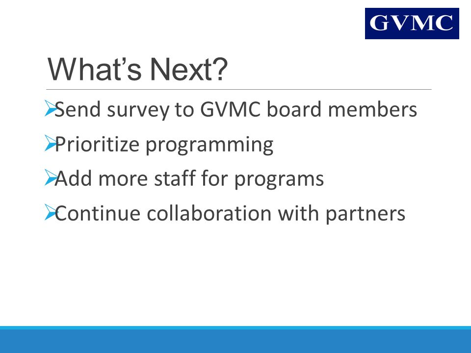 What's Next?  Send survey to GVMC board members  Prioritize programming  Add more staff for programs  Continue collaboration with partners