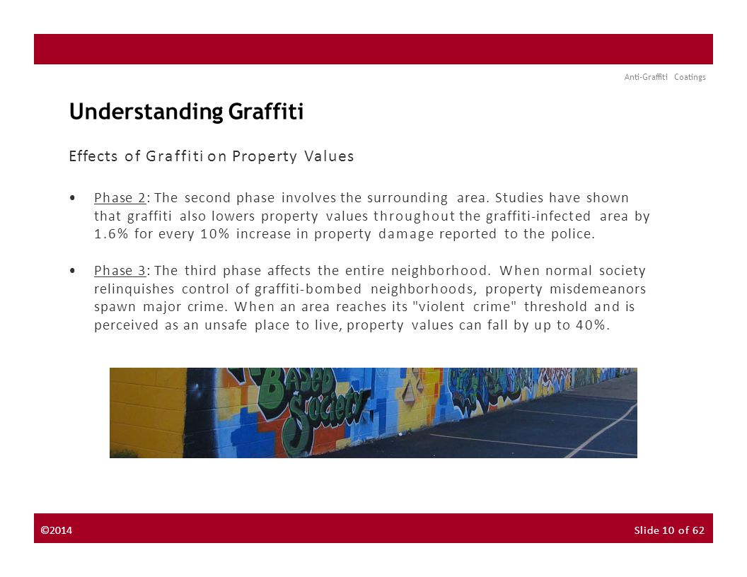 About the Instructor About the Sponsor Seminar Discussion Forum Anti-Graffiti Coatings Understanding Graffiti Effects of Graffiti on Property Values Phase 2: The second phase involves the surrounding area.