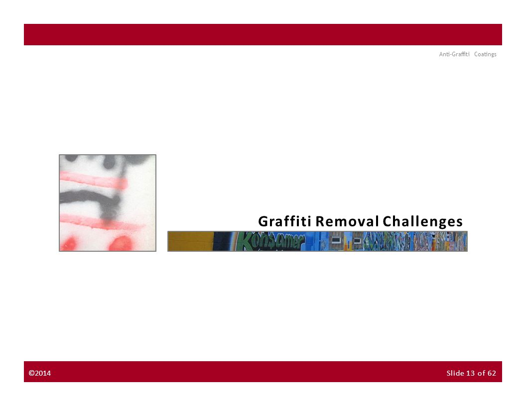 About the Instructor About the Sponsor Seminar Discussion Forum Anti-Graffiti Coatings NextPrevious Graffiti Removal Challenges ©2014Slide 13 of 62