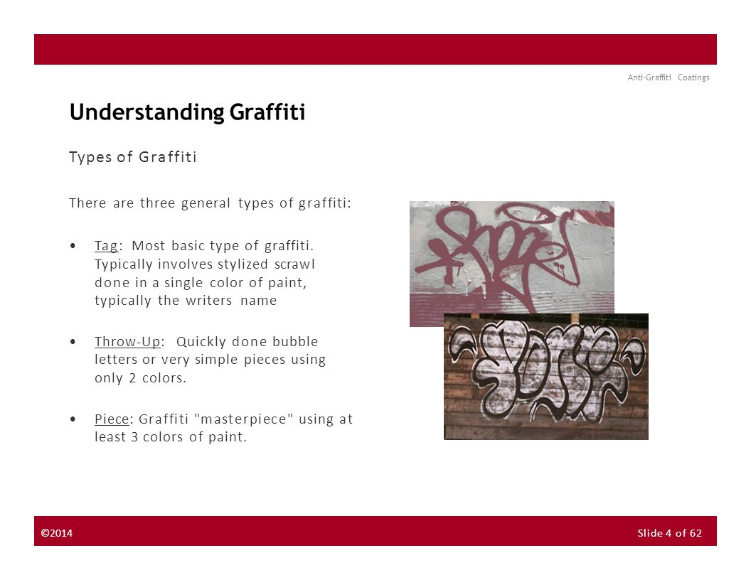 About the Instructor About the Sponsor Seminar Discussion Forum Anti-Graffiti Coatings Understanding Graffiti Types of Graffiti There are three general types of graffiti: Tag: Most basic type of graffiti.